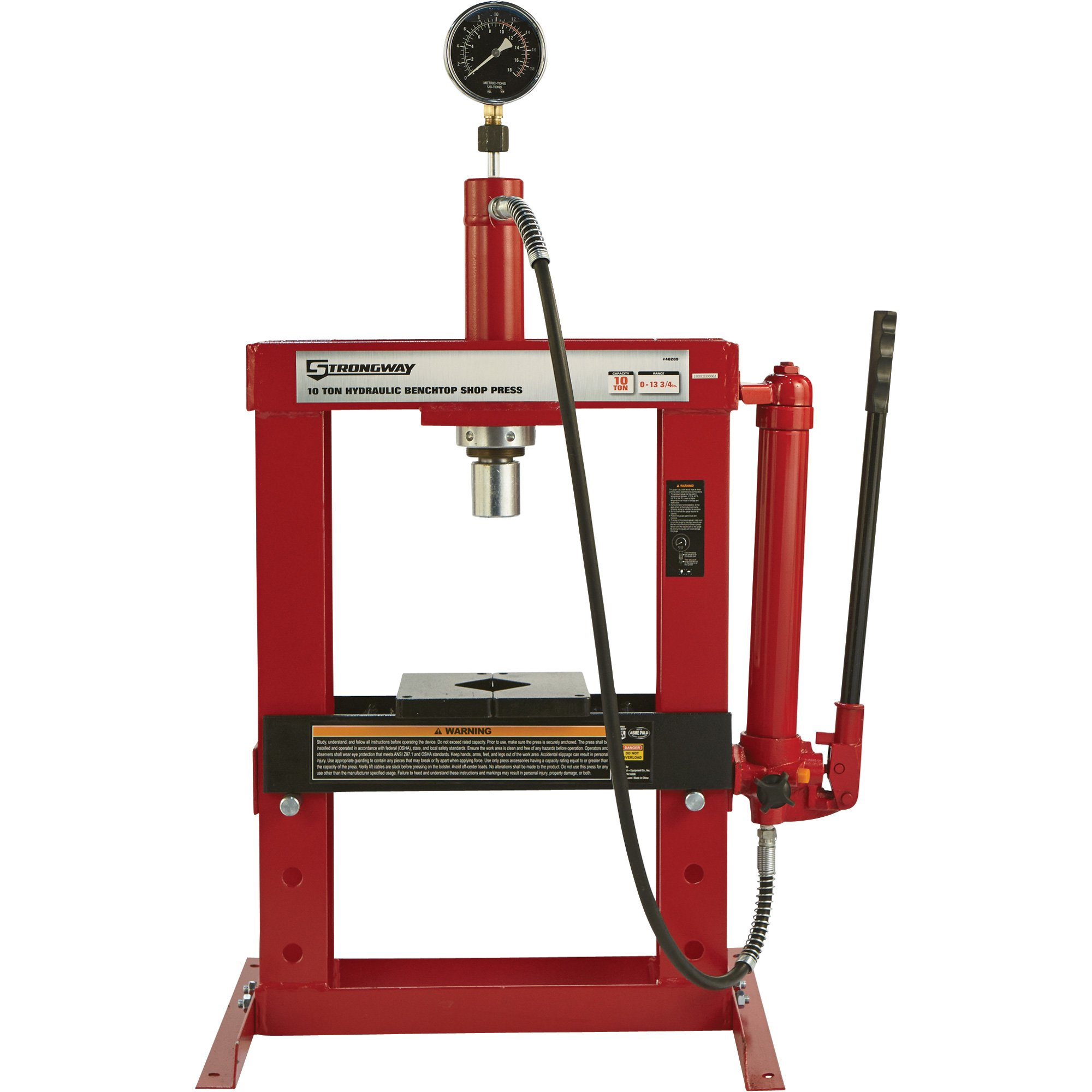 Strongway Hydraulic Shop Press with Gauge - 10-Ton Capacity by Strongway (Image #1)
