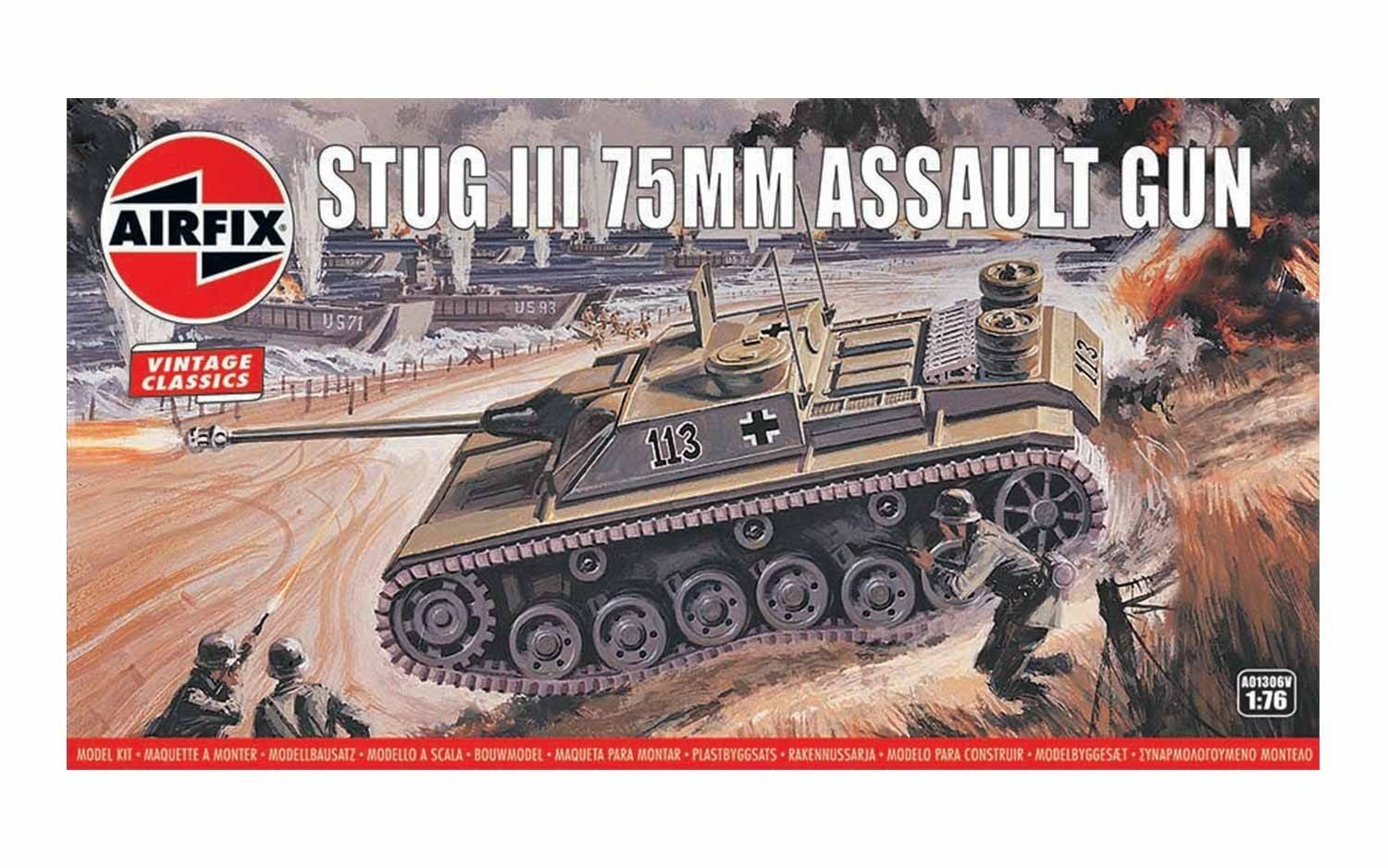 Airfix Vintage Classics Stug III 75mm Assault Gun Tank 1:76 Military Ground Vehicle Plastic Model Kit A01306V