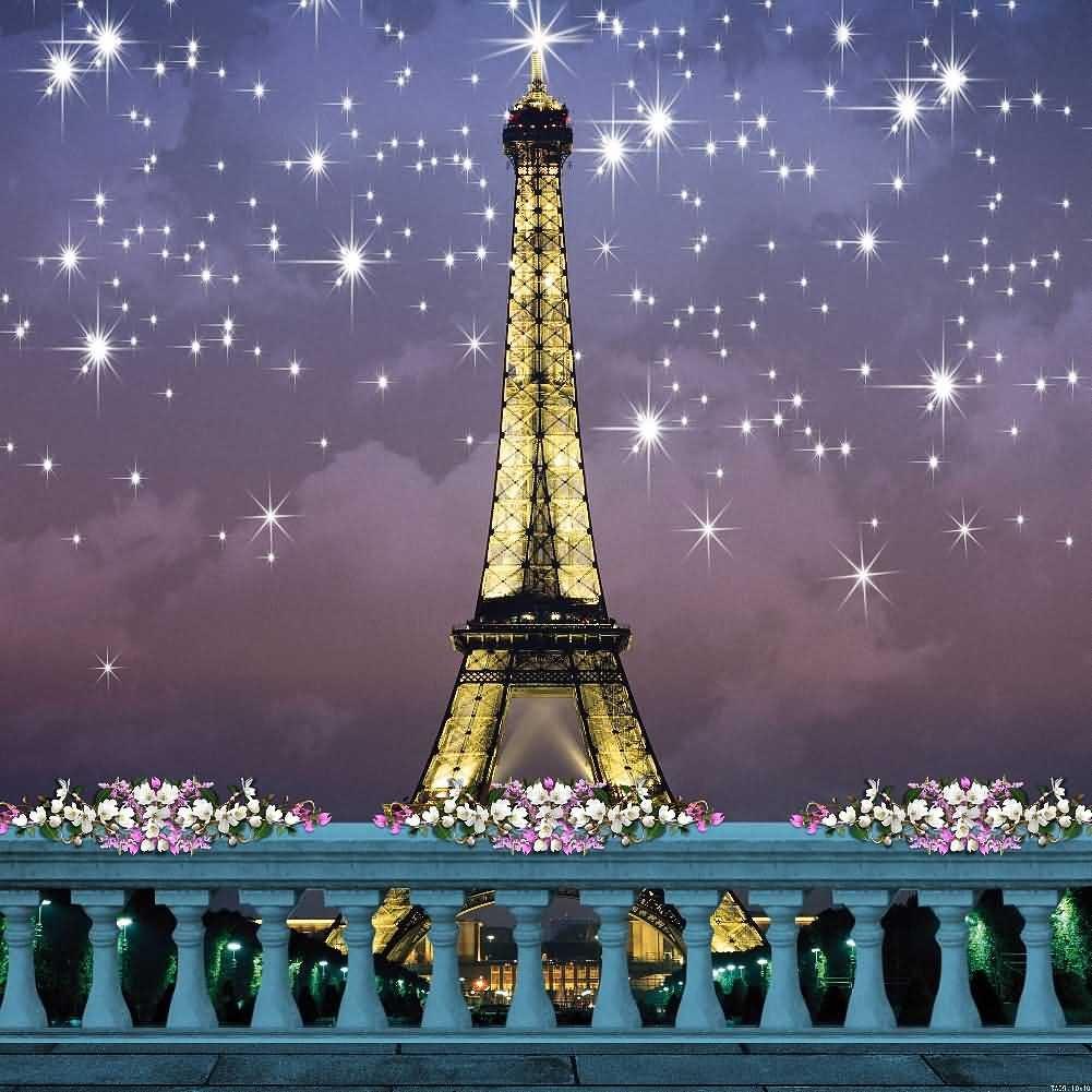 The Eiffel Tower Under the Stars 10' x 10' Digital Printed Photography Backdrop KA Series Background KA051