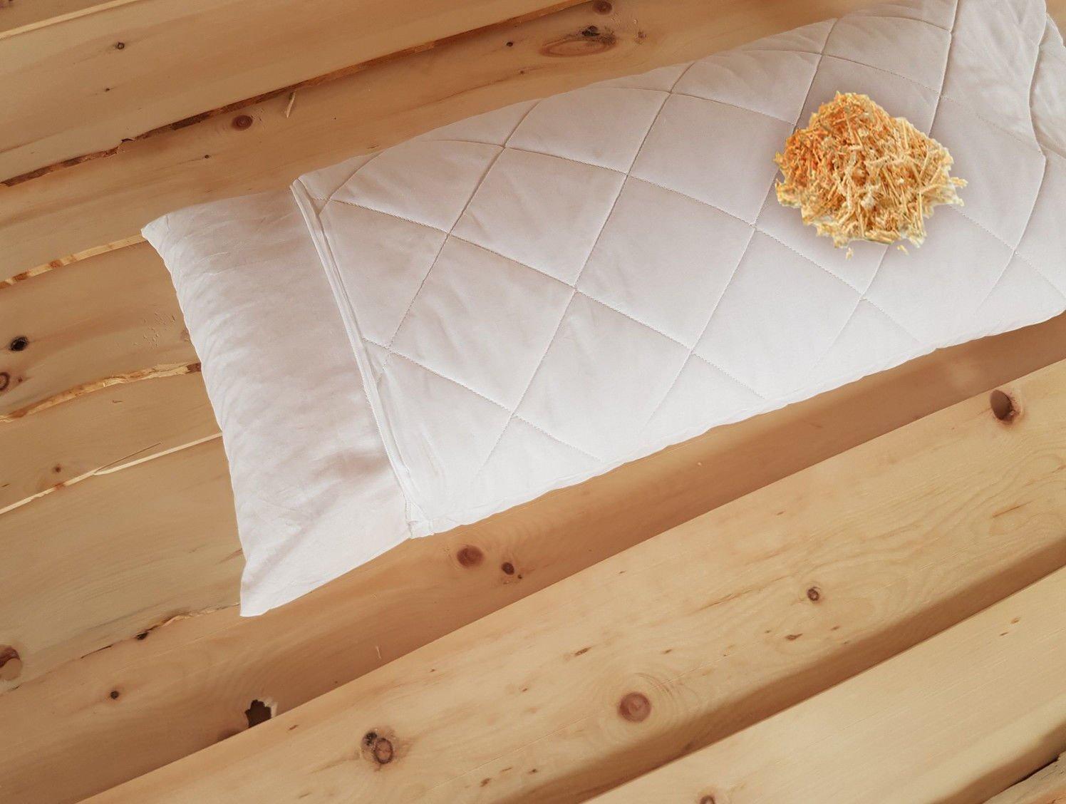 Hilfe gegen Schlafstörung - Premium Zirbenkissen Zirbenholzkissen weiß Bezug Bio Baumwolle Steppware + zusätzliches Inlett 40 x 80 cm