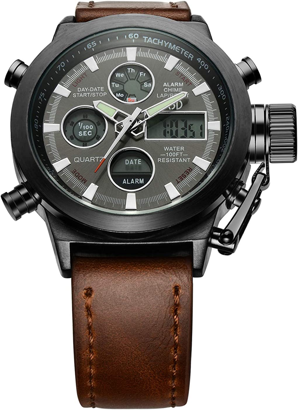 Golden Hour Fashion Brown Leather Men s Military Watch Waterproof Analog Digital Sports Watches for Men