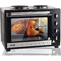 DMS® 48L Mini Four avec plaques de cuisson rôtisserie Four Chaleur Tournante Four à pizza four, avec éclairage intérieur, minuterie 3200W miettes amovible Tôle ocrh de 48D