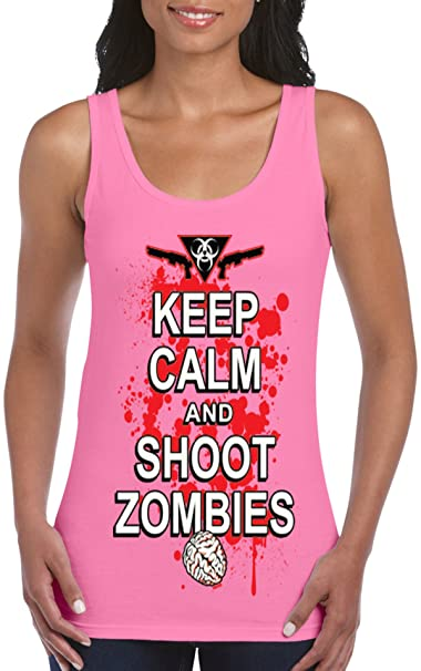 ab699ebc LIFESTYLE39 Keep Calm and Shoot Zombies Women's Tank Top, Halloween Tank Top,  Funny Zombie
