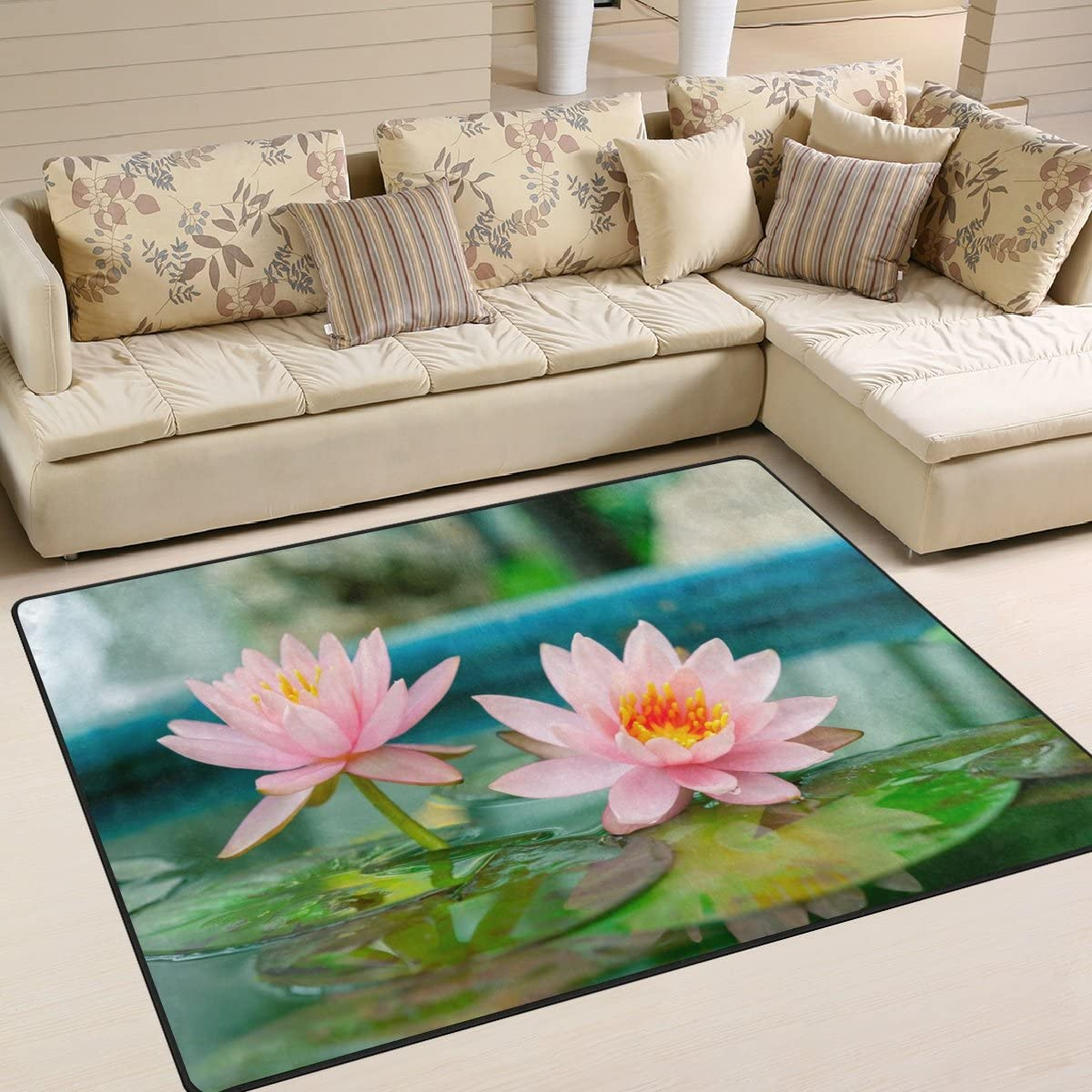 ALAZA Pink Waterlily Lotus Flower on Pond Area Rug Rugs for Living Room Bedroom 7 x 5