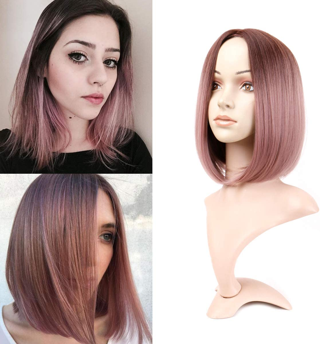 Becus Ombre Black To Pink Short Bob Synthetic Wig Straight Shoulder Length Hair For Women Amazon Co Uk Beauty
