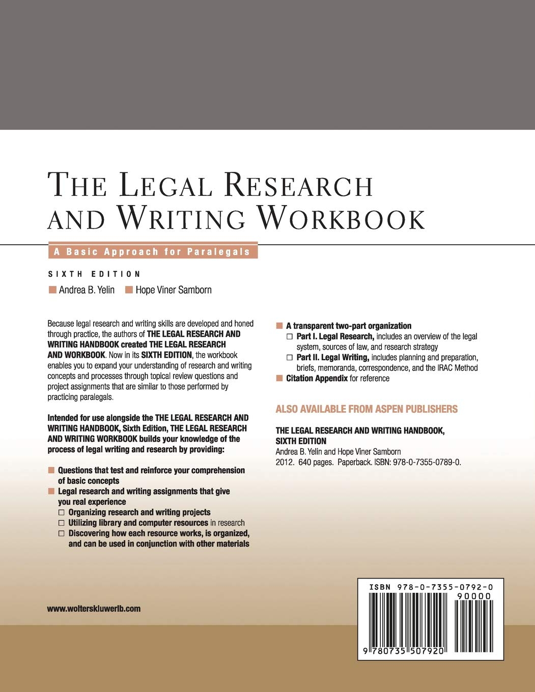 Buy The Legal Research And Writing Workbook A Basic