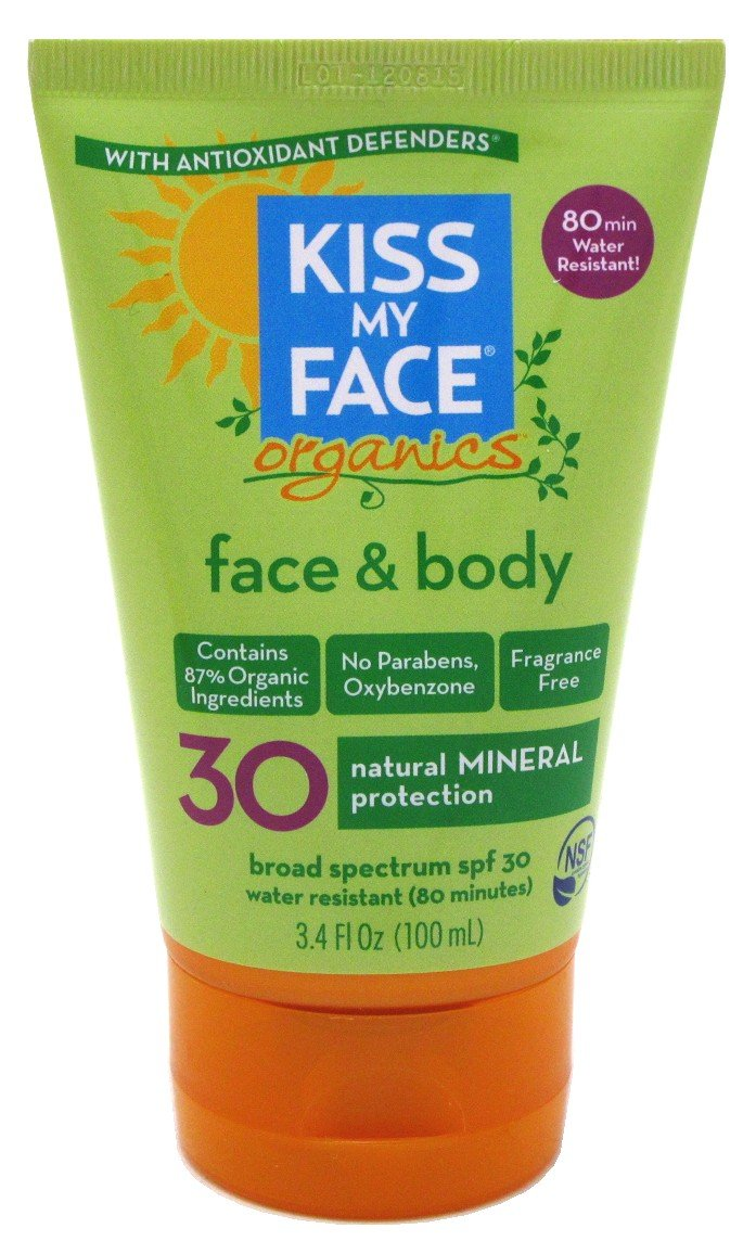 Kiss My Face Spf#30 Organics Face And Body Sunscreen 3.4 Ounce (100ml) (2 Pack)