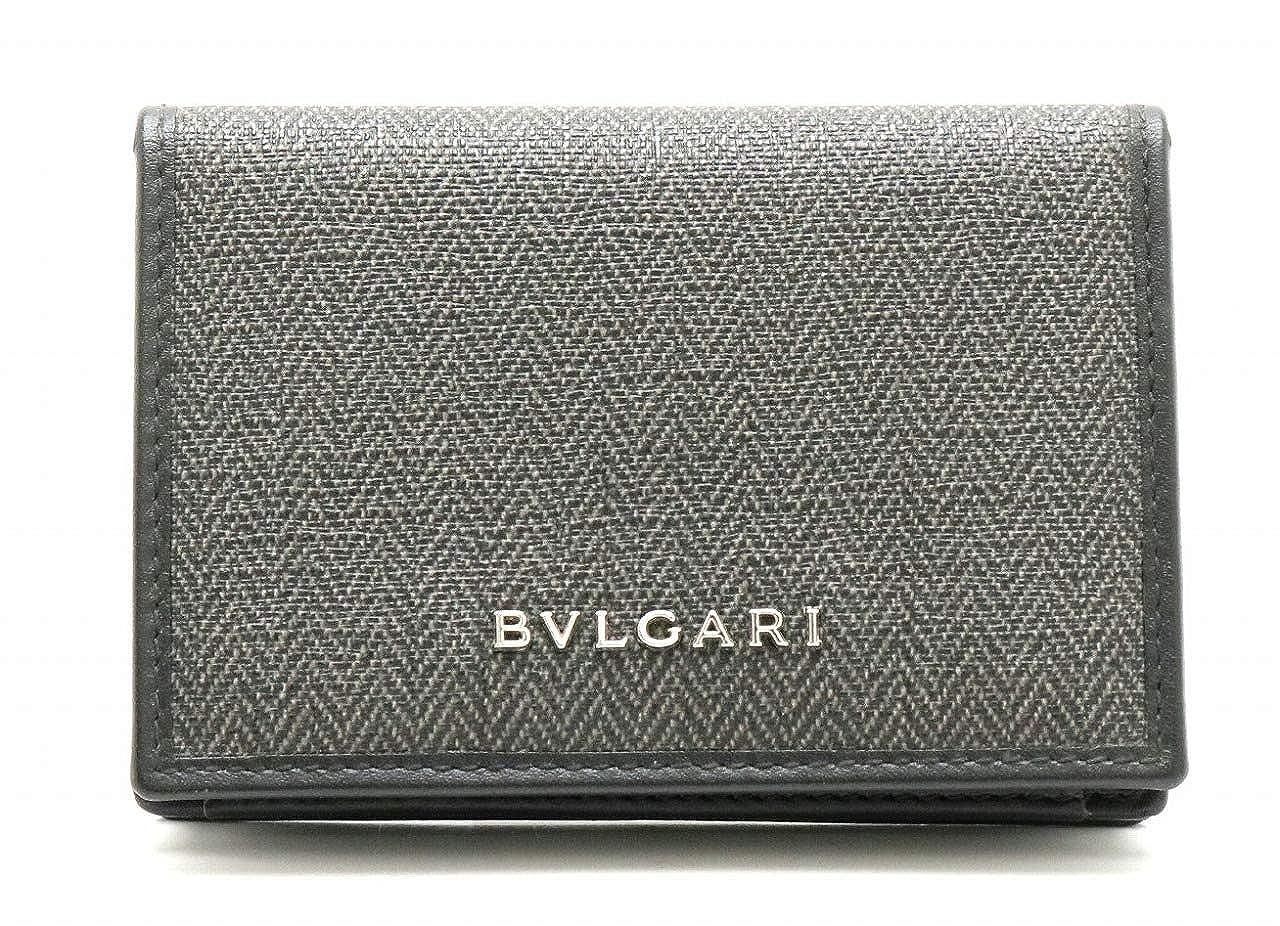[ブルガリ] BVLGARI ウィークエンド カードケース 名刺入れ パスケース 定期入れ PVC レザー ダークグレー 黒 ブラック 32588 [中古]   B07QS64QNK