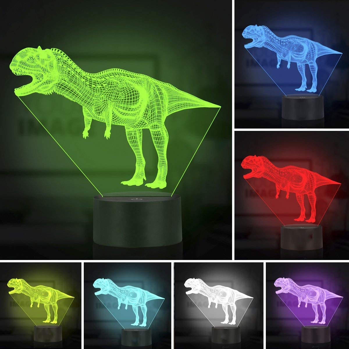 3D LED Licht Nachtlicht Optische T/äuschung Lampe Schreibtischlampe Tischlampe Nachtlicht 7 Farben /ändern Touch Control Dinosaurier