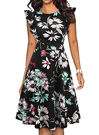 461e5d73e402 ihot Women's Vintage Ruffle Floral Flared A Line Swing Casual Cocktail  Party Dresses Black Green