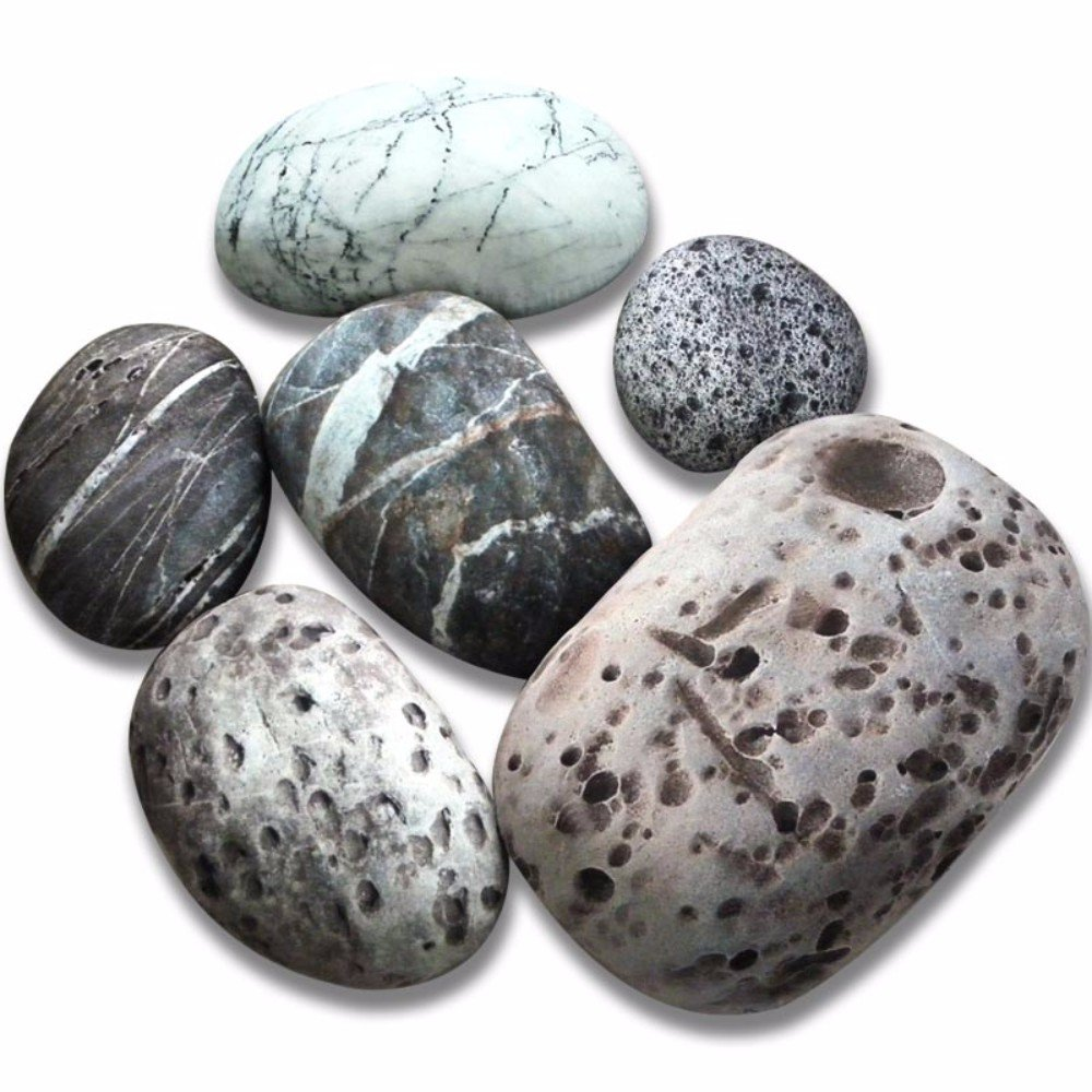 6 Piece Set Mixed Designs Big Huge Stone Pebble Rock Living Pillow Covers Pets Floor Cushions Decoration Throw Pillow Cases NO FILLING by Rock Pillow