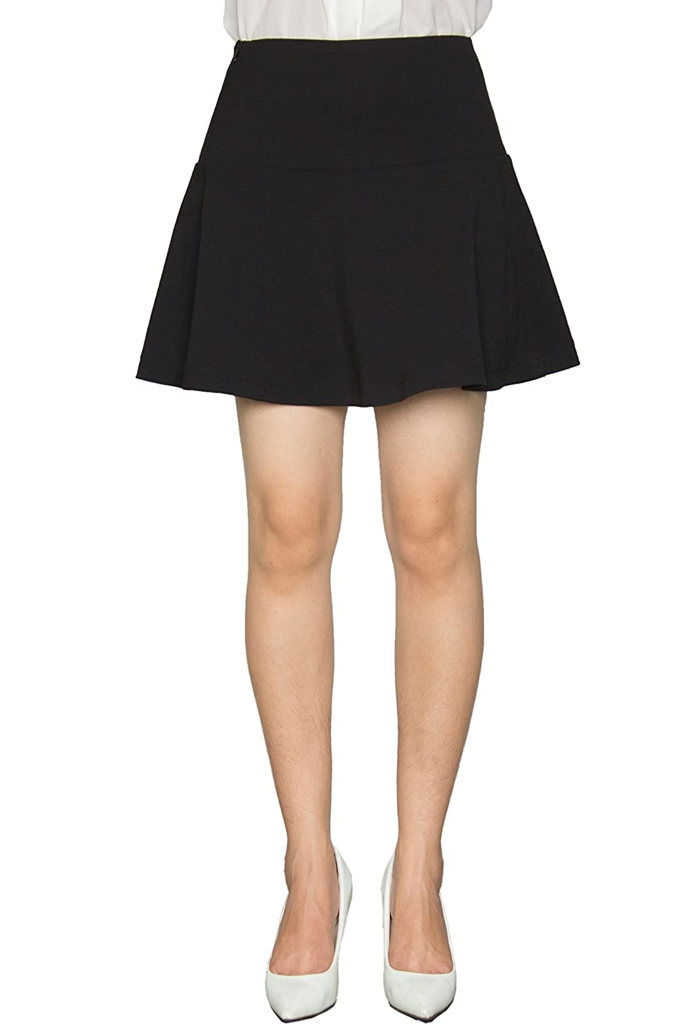 Women Basic Versatile Solid Color A-line Skirt Black