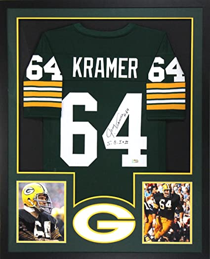 Jerry Kramer Autographed/Signed Green Bay Packers Framed Green ...