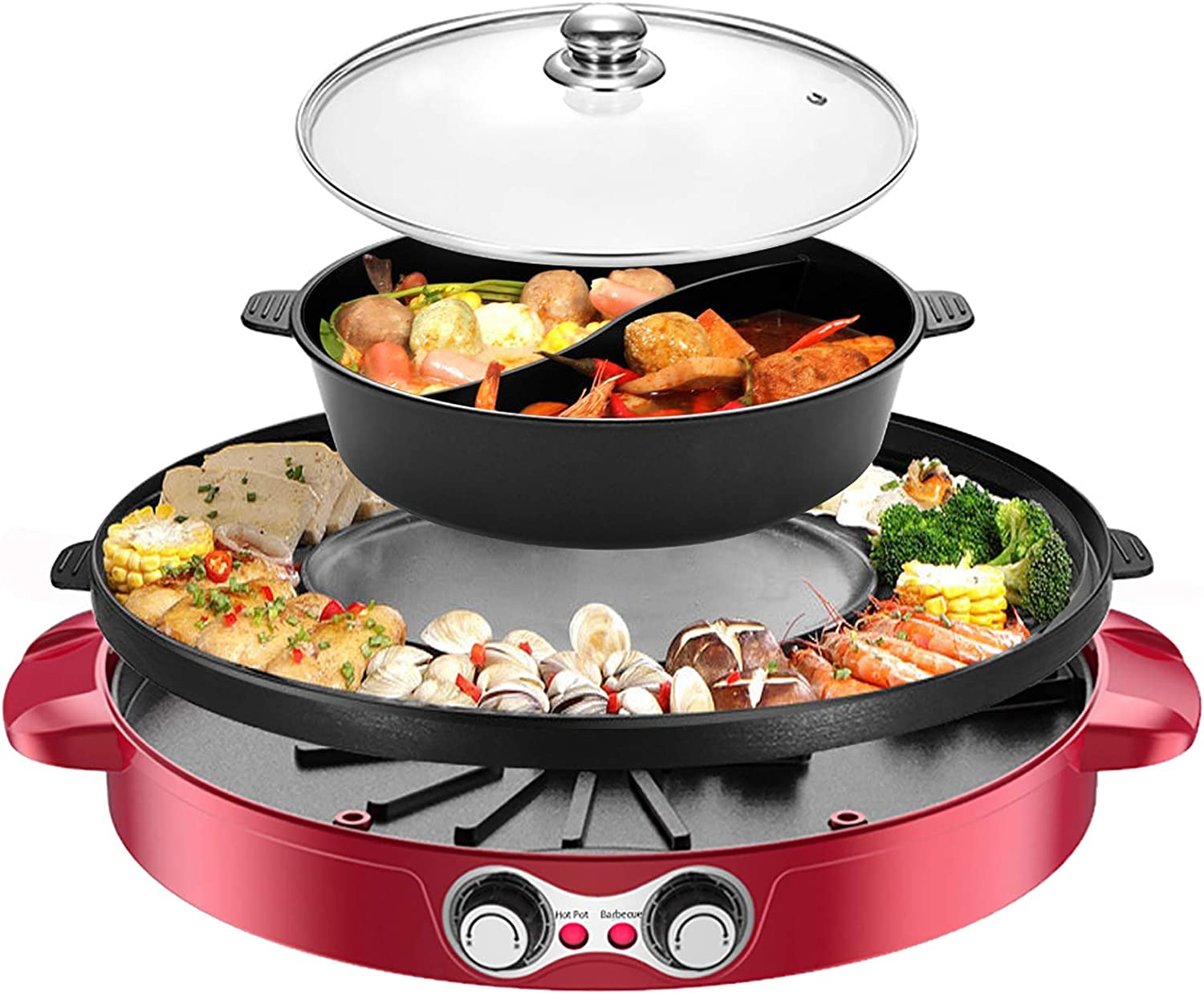2200W Electric Grill and Hot Pot with Divider, 110V 2 in 1 Detachable Easy to Clean BBQ & Shabu with Independent Temperature Control for 2-8 People Family Gathering Friend Meeting Party