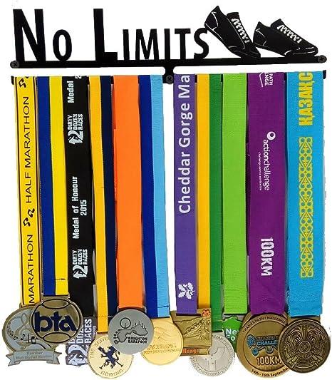 Soporte de exhibición de suspensión de medalla No Limits, ganchos de medalla para corredores Soporte de exhibición de medalla Estante de medalla Soporte de exhibición de metal negro: Amazon.es: Deportes y aire