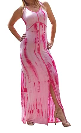 Maya Antonia PLUS Size Tie-Dye Hot Pink-White Maxi Dress with/back ...