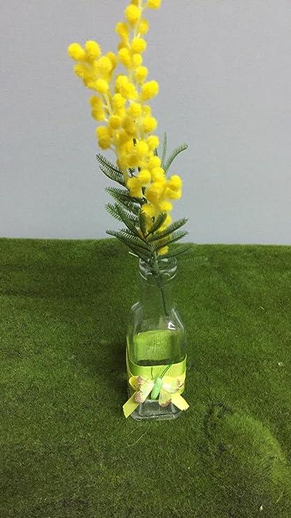 Nostre manualidades, botella decorada con un cinta y una mariposa (Mimosa Esclusa) –
