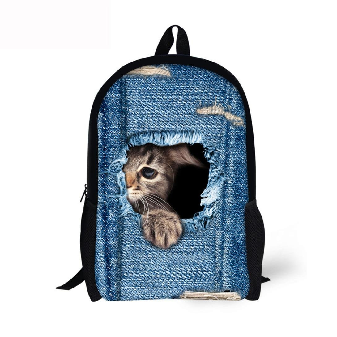 Outsta 3D Animal Print Cat Dog Backpack, Student School College Shoulder Bags Travel Lightweight Classic Basic Water Resistant Backpack Fashion (B)