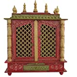 Jodhpur Handicrafts Home Temple/ Wooden Temple/ Pooja Mandir/ Mandap/ Temple For Home With LED Bulb Inside Free Pooja Thali , God Photo Frame