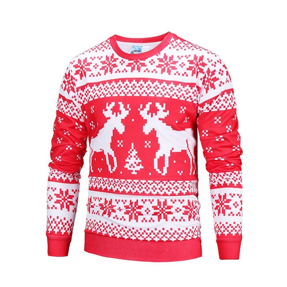 Herren Weihnachtspullover Herbst Winter Weihnachtspulli Weihnachten Pullover Druck Top Herren Langarm T-Shirt Bluse mit Rundhals-Ausschnitt fü r Damen Herren Weihnachtsparty Felicove