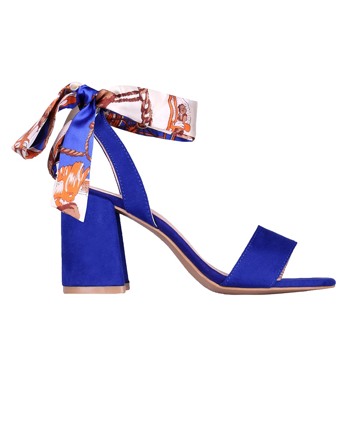 68d6660f31 KRISP 2344-ROY-3: Satin Wrap Block Heel Sandals: Amazon.ca: Shoes & Handbags