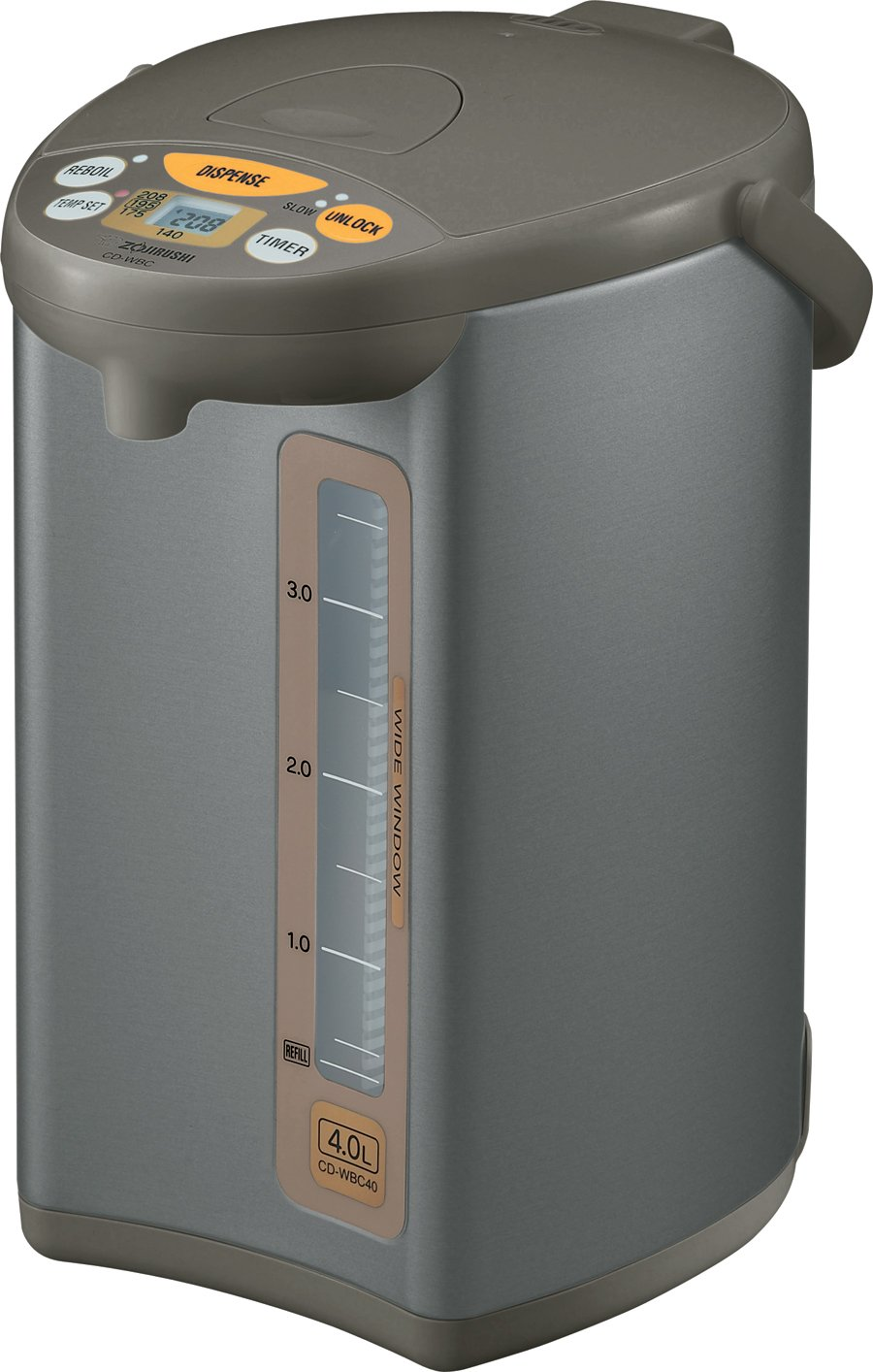 Zojirushi CD-WBC40-TS Micom 4-Liter Water Boiler and Warmer, Silver Brown by Zojirushi
