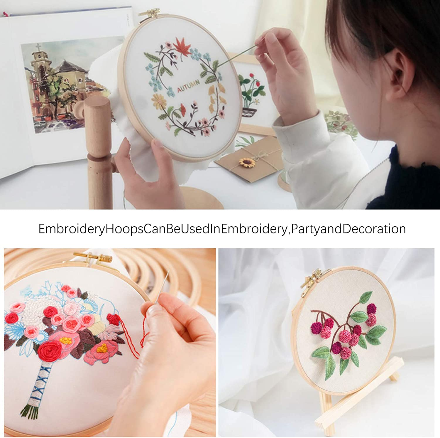 nobrand Cross Stitch Embroidery Hoop Ring Round Wood Bamboo Circle Frame DIY Craft Sewing Tool 26 cm