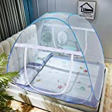VERDIOZ Mosquito Net Foldable Double Bed | King Size | Queen Size for Baby | Kids | Adult, 100% Ventilation | Visibility with Free Saviours - Blue