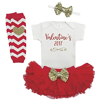 Amazon Com Baby Girl Valentines Outfit First Valentine S Day Outfit