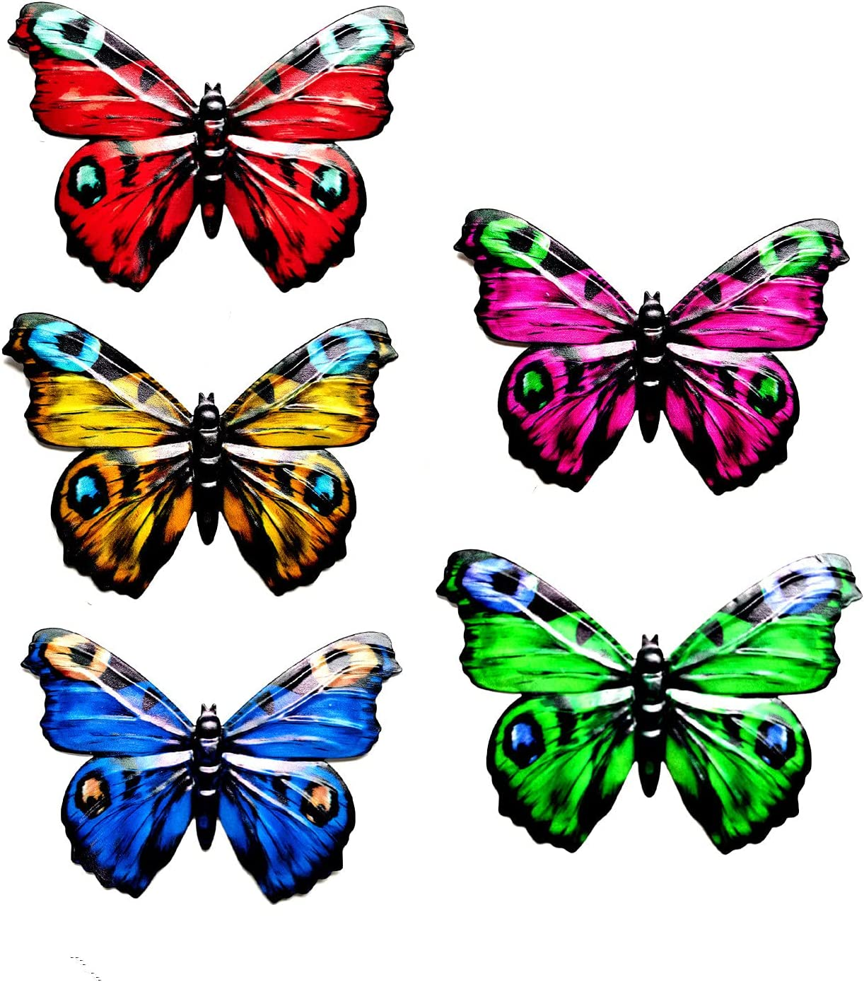 Metal Butterfly Outdoor Decor - 5 Pack Wall Art Decorations Hanging for Patio, Fence, Garden, Yard, Handmade Gift for Kids