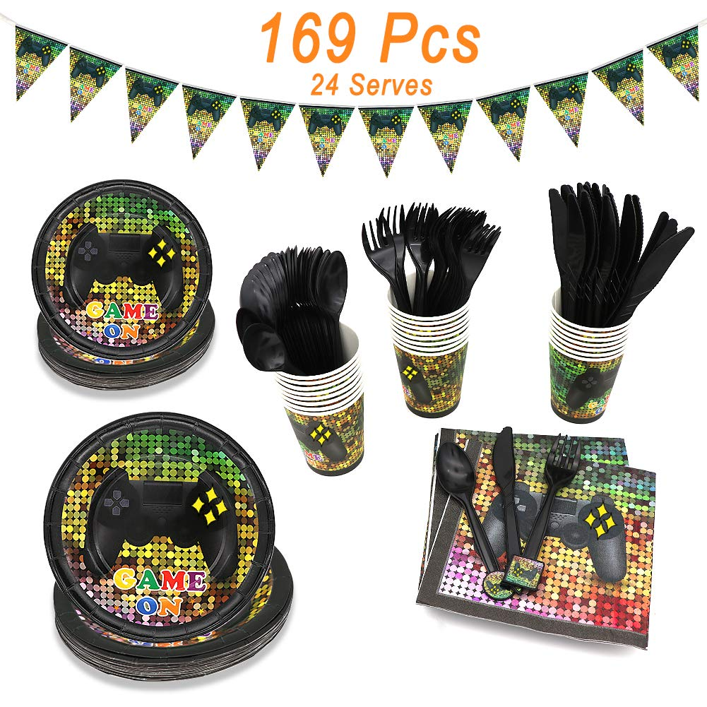 Video Game Party Supplies, Angela&Alex 169 Pieces 24 Guests Gaming Themed Party Birthday Banner Round Plates Cups Napkins Dessert Plate Forks Knives Spoons Game On Supplies Decor