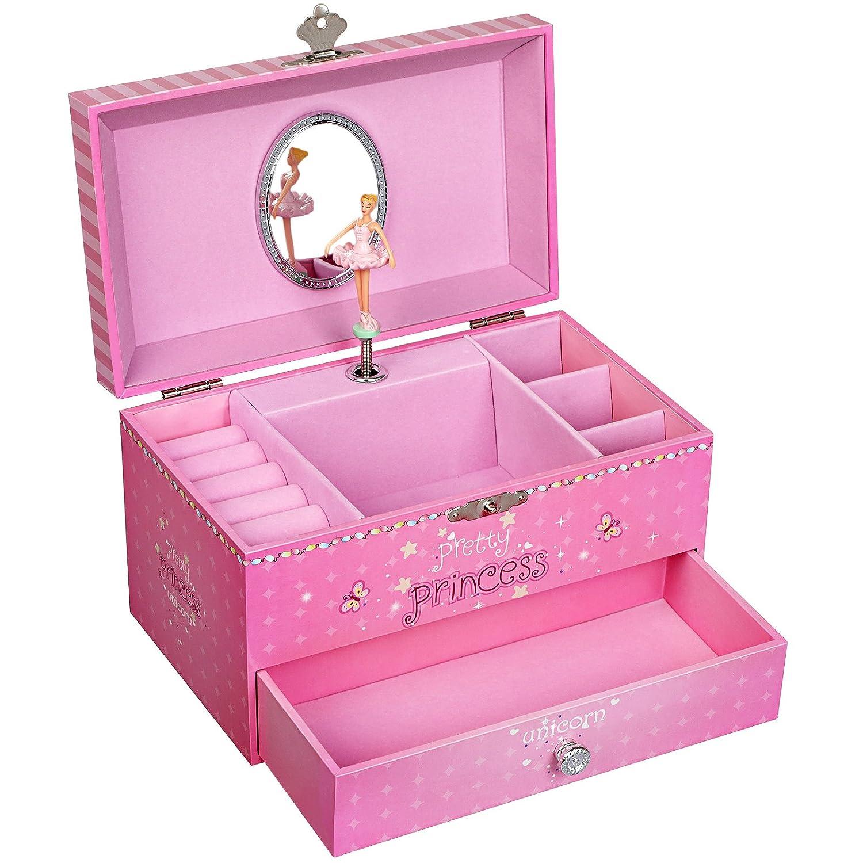 SONGMICS Joyero Musical, Caja de Joyas, Tema de Unicornio y Princesa, con Bailarina, Cajón, Espejo, Caja de música para niñas, Rosa, JMC009PK: Amazon.es: ...