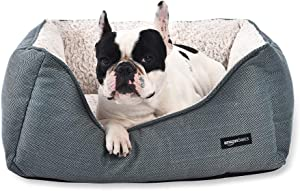 AmazonBasics Cuddler Bolster Pet Bed For Cats or Dogs, Soft and Comforting