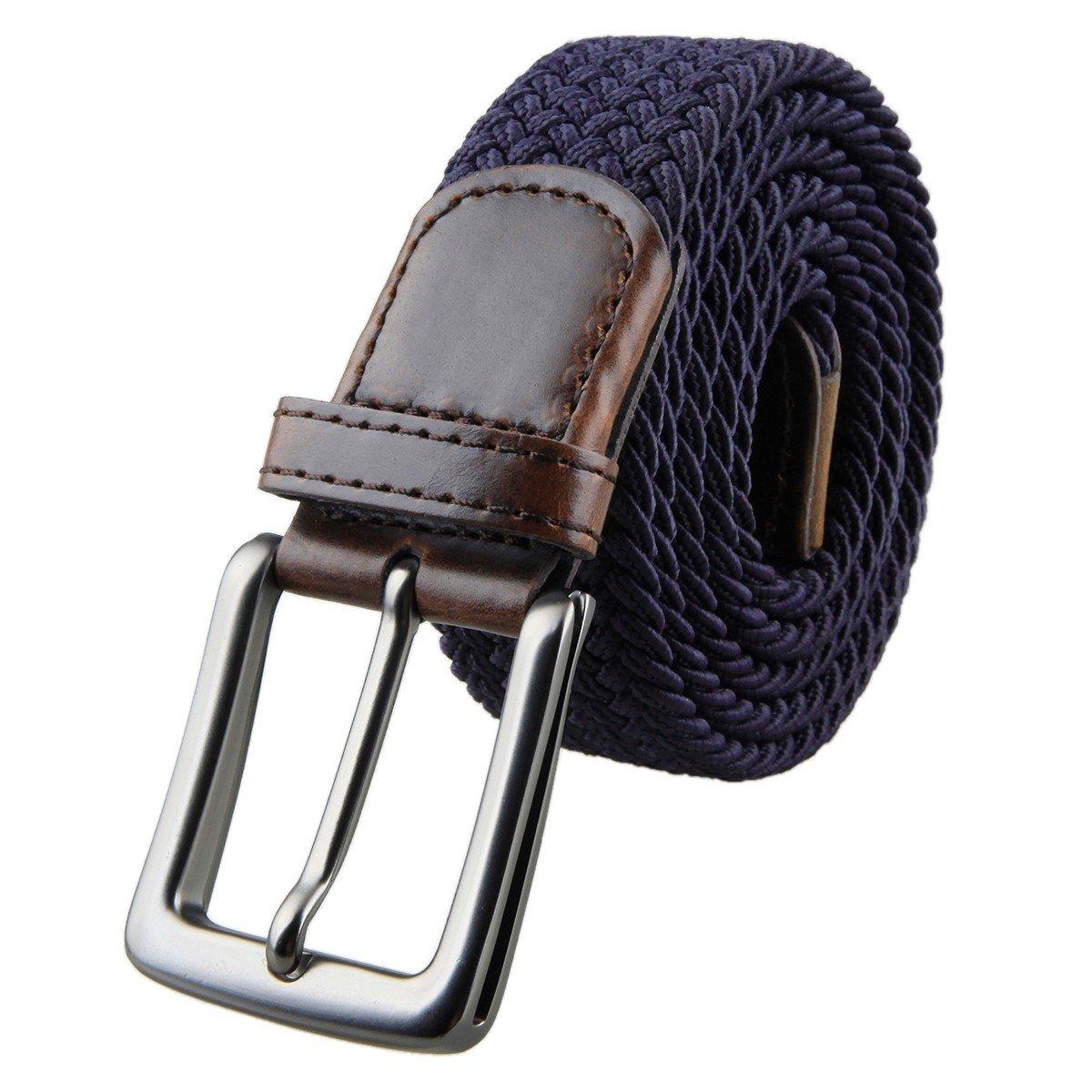 Shanxing El/ástico Trenzado Cuero Hebilla Cintur/ón para Hombres y las Se/ñoras