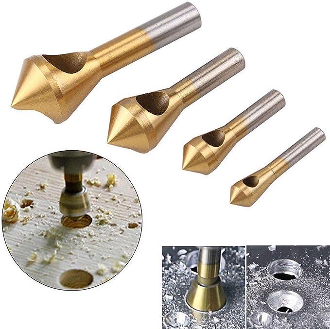 SANDS Juego de brocas de chafl/án de desbarbado con avellanador recubierto de titanio 4 piezas Broca de pl/ástico de metal de madera