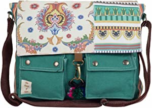 The House of Tara - Teal Green Vintage Crossbody 100% Cotton Canvas Messenger bag with Stylish Design for Women