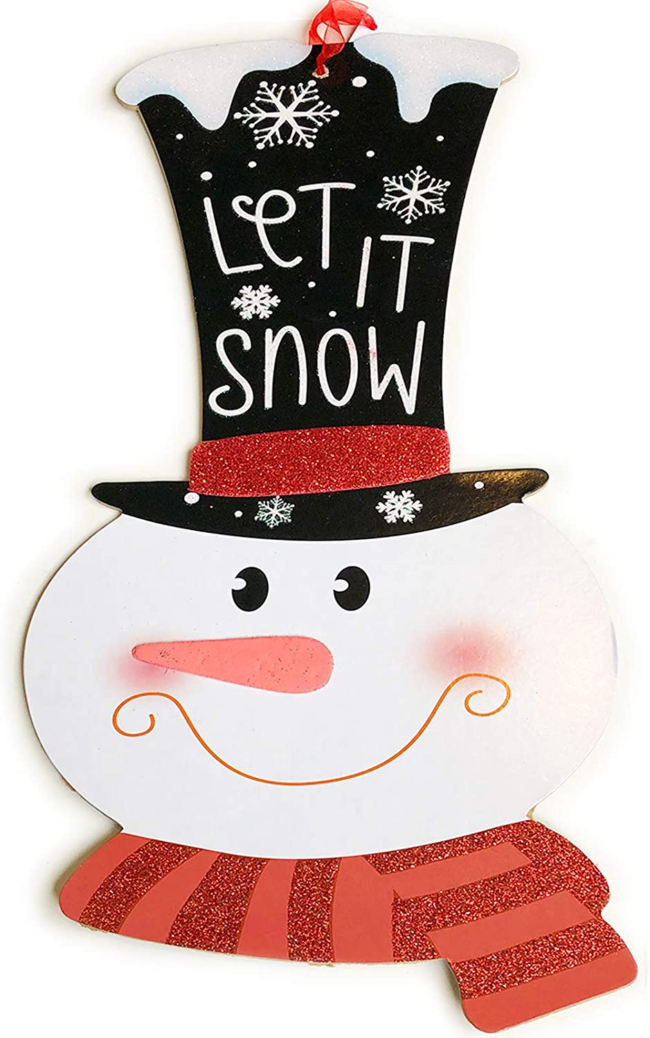 "Hemmet Christmas Decoration Celebrate A Holiday Wooden Snowman Sign 15"" x 8"" Wood Decore Outside Porch Yard Door Decorative Hanger Plaque Home Party Indoor Outdoor X-mas Living Room Hanging Decor"
