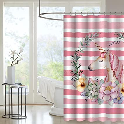 Uphome Trendy Pink Striped Unicorn With Flowers Bathroom Curtain  Ideas Heavy Duty Waterproof Mildew