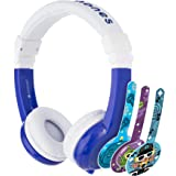ONANOFF BuddyPhones Explore Foldable, Volume-Limiting Kids Headphones with Travel Bag, Built-In Audio Sharing Cable with Mic,
