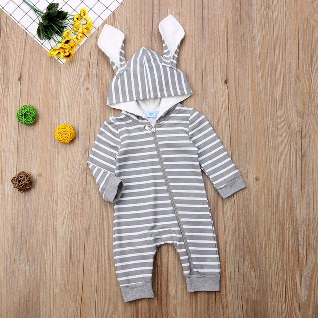 6M-24M Newborn Kids Baby Boys Girls Long Sleeve Stripe Zipper Hooded with Rabbit Ear Hat Romper Bodysuit Clothes Outfit