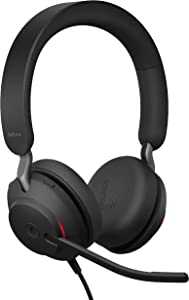 Jabra Evolve2 40 UC Wired Headphones, USB-A, Stereo, Black – Telework Headset for Calls and Music, Enhanced All-Day Comfort, Passive Noise Cancelling Headphones, UC-Optimized with USB-A Connection