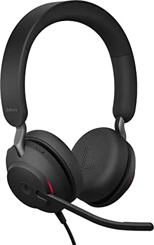 Jabra Evolve2 40 MS Wired Headphones, USB-A, Stereo, Black – Telework Headset for Calls and Music, Enhanced All-Day Comfort, Passive Noise Cancelling Headphones, MS-Optimized with USB-A Connection