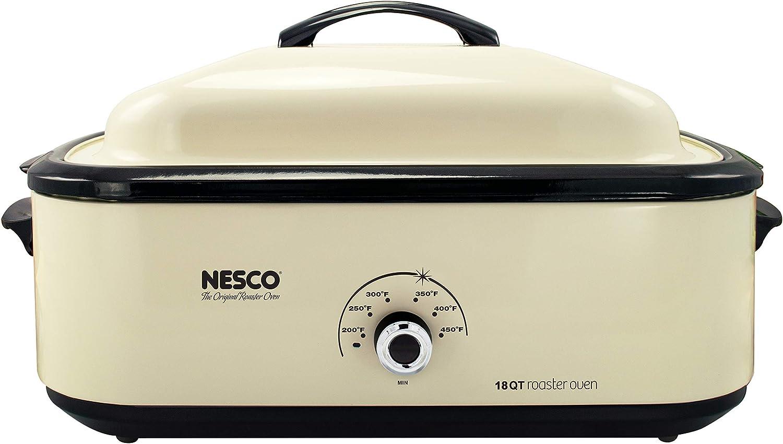 Nesco 4818-14 Classic Roaster Oven, 18-Quart, Porcelain Cookwell, Ivory (Renewed)