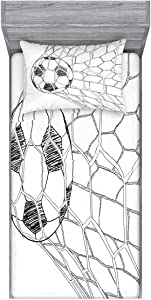 Ambesonne Soccer Fitted Sheet & Pillow Sham Set, Soccer Ball in Net Goaly Position Sports Competition Spectators Hand Drawn Style, Decorative Printed 2 Piece Bedding Decor Set, Twin, Black