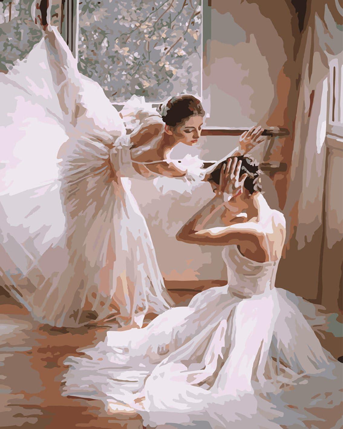 RIHE Sin Marco, Pintura por números DIY Pintura al óleo para Adultos Niños Decoraciones para el Hogar Bailarines de Ballet 16 * 20 Pulgadas