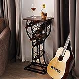 BENOSS Industrial Wine Table Display Rack 11 Bottles, Wine Storage Organizer Stand Bar, Freestanding Wine Rack, Metal and Sol