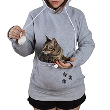 01c8e0ceb Jahurto Pet Holder Cat Dog Kangaroo Pouch Carriers Pullover size S  (GreyCotton)