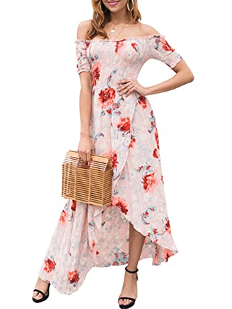 6b70778fb12e1 BerryGo Women s Boho Off Shoulder Short Sleeve Floral High Low Smocking  Dress at Amazon Women s Clothing store
