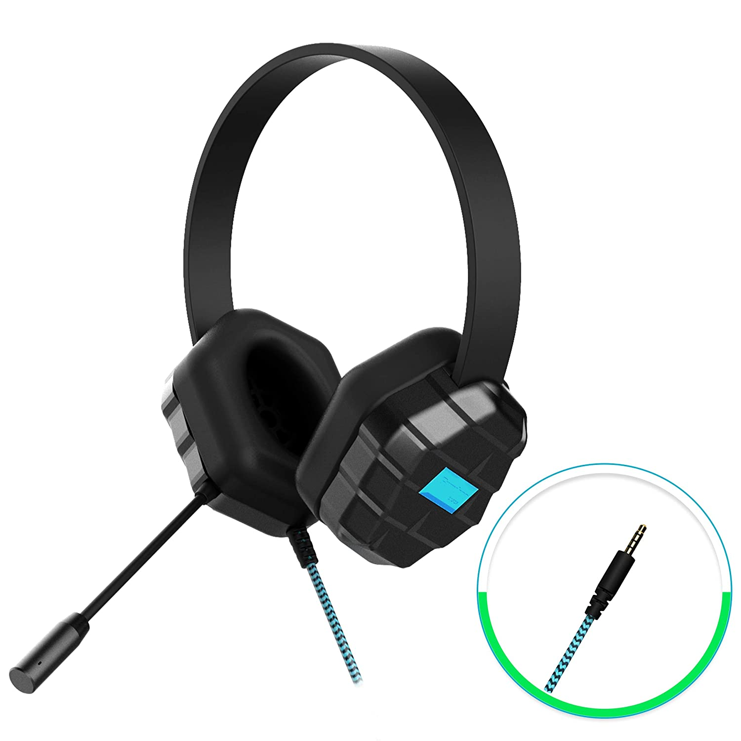 GumDrop Droptech B1 Over-Ear Headset with Chew-Proof Cord, Built-in Mic, 3.5mm Audio Jack for Classroom, Students, Kids -Black, Rugged, Plug Play, Small