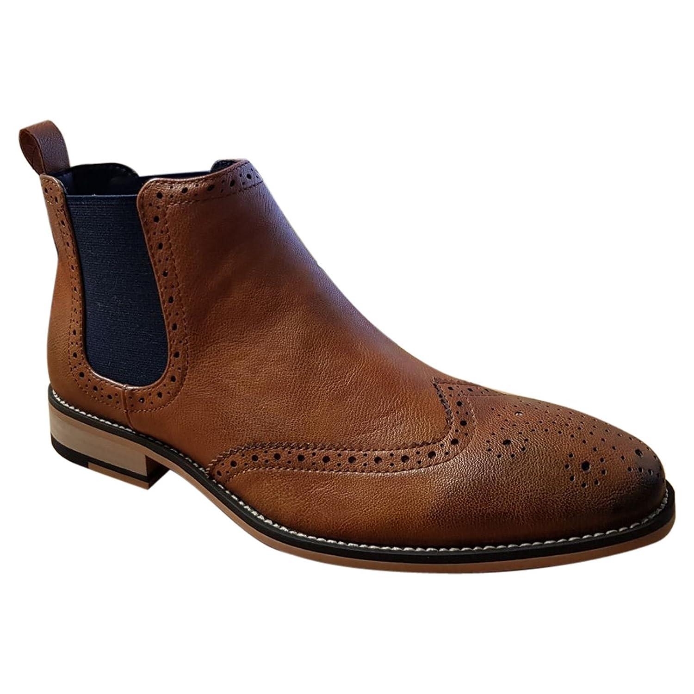 Cavani Mens Chelsea Boots Fox Leather Look Slip On Classic MOD Shoes   Amazon.co.uk  Shoes   Bags e4684a5189e